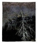 Dead Tree Reflects In Black Water Fleece Blanket
