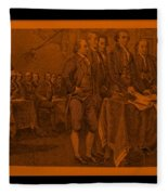 Declaration Of Independence In Orange Fleece Blanket