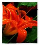 Deep Orange Day Lily Fleece Blanket