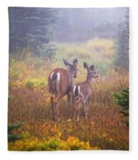 Deer In The Fog In Paradise Park In Mt Fleece Blanket