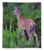 Deer In The Marsh Fleece Blanket