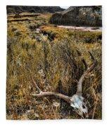 Deer Skull In Montana Badlands Fleece Blanket