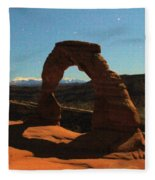 Delicate Arch Under Moonlight Fleece Blanket