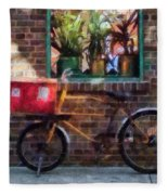 Delivery Bicycle Greenwich Village Fleece Blanket
