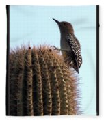 Desert Bird Atop Saguaro Fleece Blanket