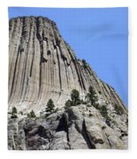 Devil's Tower Full View Fleece Blanket
