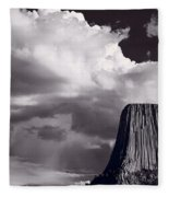 Devils Tower Wyoming Bw Fleece Blanket