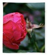 Dew Drenched Rose Fleece Blanket