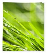 Dewy Green Grass  Fleece Blanket