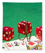 Dice Red Cards Hook 1 B Fleece Blanket