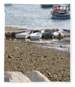 Dinghies At Green Harbor Fleece Blanket