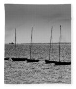 Dinghies Moored Off Of Leigh On Sea Essex Fleece Blanket
