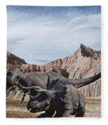 Dino's In The Badlands Fleece Blanket