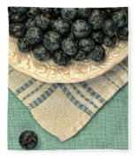 Dish Of Fresh Blueberries Fleece Blanket