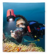 Diver And Anenome Fish Fleece Blanket