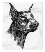 Doberman-pincher-portrait Fleece Blanket
