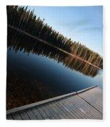 Dock On Northern Manitoba Lake Fleece Blanket