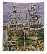 Docked Fishing Boats Hdr Fleece Blanket