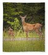 Doe And Fawn Along A Roadside Near Iron Mountain Michigan. Fleece Blanket