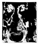 Dog Abstract Black And White Fleece Blanket