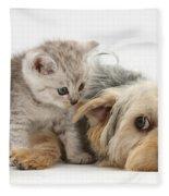 Dog Surrendering To Kitten Fleece Blanket