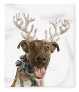Dog With Antlers Fleece Blanket