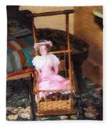 Doll In Carriage Fleece Blanket