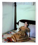 Doll On Four Poster Bed Fleece Blanket
