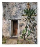 Door In Spanish Mission Building Fleece Blanket