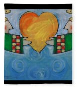 Double Angels With Heart Fleece Blanket