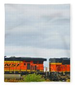Double Bnsf Engines Fleece Blanket