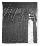 Double Yellow Lines On A Road Fleece Blanket