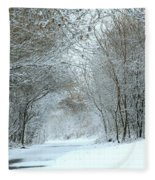 Down A Winter Road Fleece Blanket