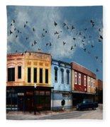 Downtown Bryan Texas 360 Panorama Fleece Blanket