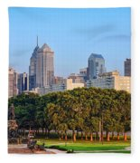 Downtown Philadelphia Skyline Fleece Blanket