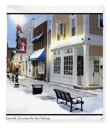 Downtown Waterville Decorated For The Holidays Fleece Blanket