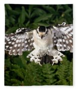 Downy Woodpecker In Flight Fleece Blanket