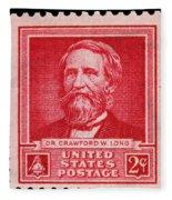 Dr Crawford W Long Postage Stamp Fleece Blanket
