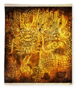Dragon Painting On Old Paper Fleece Blanket