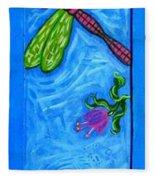 Dragonfly And Bee Fleece Blanket