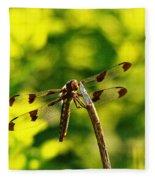 Dragonfly In Green Fleece Blanket