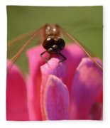 Dragonfly On Pink Flower Fleece Blanket