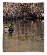 Drake In The Pond Fleece Blanket