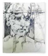 Drawing Of A Man Fleece Blanket