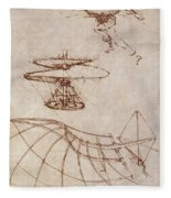 Drawings By Leonardo Divinci Fleece Blanket