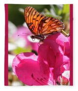 Dreaming Of Butterflies And Pink Flowers Fleece Blanket