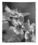 Dreamy Spring Blossoms In Black And White Fleece Blanket