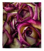 Dried Pink And White Roses Fleece Blanket