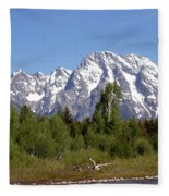 Driftwood And The Grand Tetons Fleece Blanket
