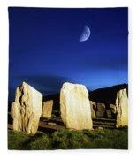 Drombeg, County Cork, Ireland Moon Over Fleece Blanket